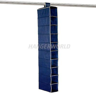 Wardrobe Rail Storage Hanging Shoe Organiser 10 Pocket Overdoor Tidy Hangerworld