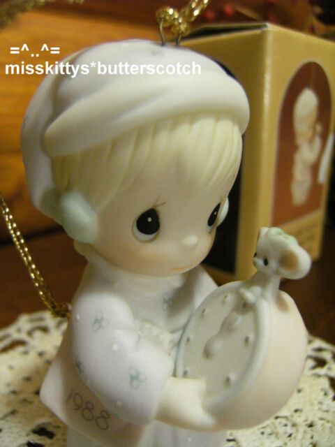 Precious Moments~ORNAMENT~DATED 1988~115320~Girl w MOUSE Clock~Time To Wish You