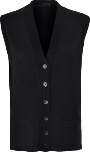 Women/'s Sleeve Less Knitted Cardigans Waistcoat V Neck Button Cardigan