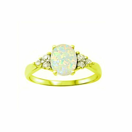 Fashion Ring Trillion Created Opal Round CZ 925 Sterling Silver Choose Color