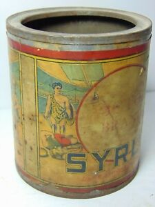 Antique-Vintage-1930s-Victor-Brand-Syrup-ADVERTISING-TIN-Roman-Fighting-Graphic