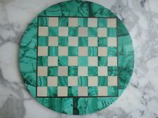 "13"" ROUND MALACHITE WHITE MARBLE BRASS CHESS BOARD HOLLYWOOD REGENCY MID CENTURY"