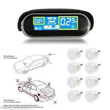 WHITE 8 Parking Sensors LED Display Car Reverse Radar Collision Avoidance Syste
