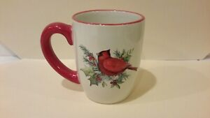 Certified-International-Susan-Winget-Red-Cardinal-Christmas-Theme-Coffee-Mug-EUC