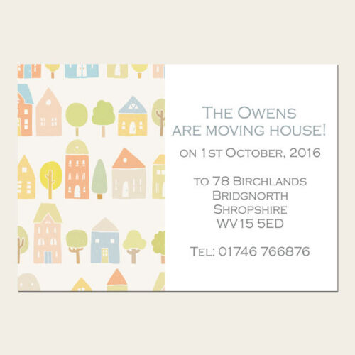 Personalised Address Cards Pastel Houses Pack of 10