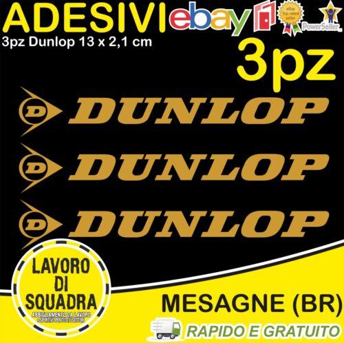 Kit 3 Adesivi DUNLOP Vinile Decals Moto Serbatoio Scooter Casco Sticker ORO