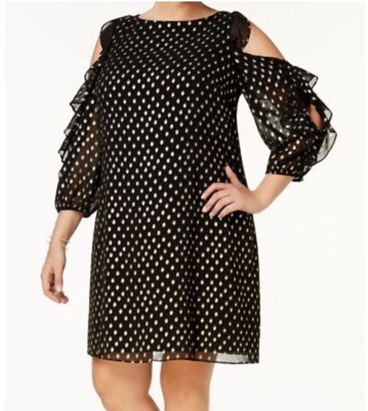 Jessica Howard Plus Größe schwarz Gold Printed Ruffle Cold-shoulder Shift Dress 20W