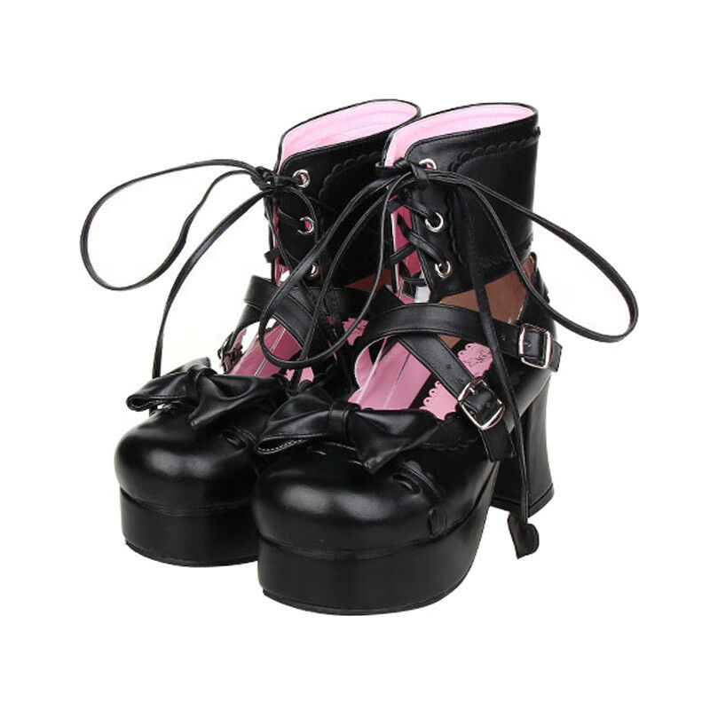 Gothic Lolita Barock Bow Damen Schuhe Schuhes Cosplay Kostüme pumps high heel Neu