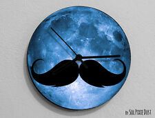 Moustache - Silhouette on Moon Wall Clock
