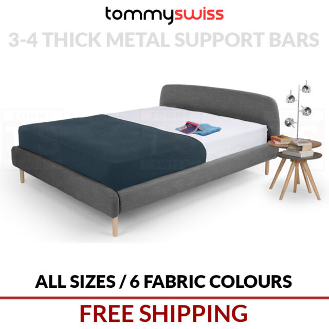 TOMMY SWISS: PREMIUM King, Queen & Double Size Fabric Bed Frame Wood Legs - B305