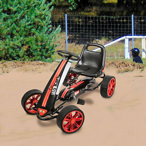 Details about Kids Pedal Go Kart Ride on Car Racer Boy Racing Bike Outdoor  4 Wheel Handbrake
