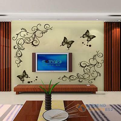 Butterfly Fly Flowers Vine Wall Stickers Decal Removable Art Vinyl Decor Home