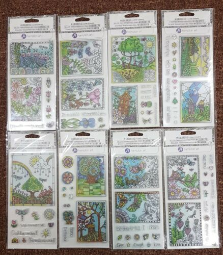 Set of 8 HAMPTON ART Coloring Clear Stamps Scrapbooking Projects DIY Craft