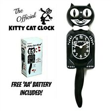 "BLACK KITTY CAT CLOCK (3/4 Size) 12.75"" Free Battery MADE IN USA Kit-Cat Klock"