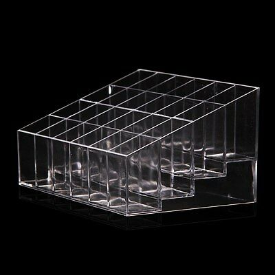 Clear 24 Lots Lipstick Holder Display Stand Cosmetic Organizer Makeup Case