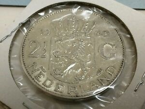 1960-2-5-Guilder-2-1-2-Gulden-Silver-crown-Netherlands