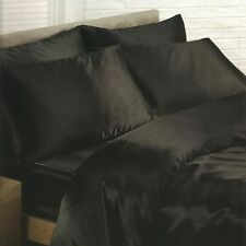 BLACK SATIN SINGLE DUVET COVER, FITTED SHEET, 2 x PILLOWCASES SET