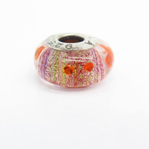 925 Sterling Argent Chamilia coloré en Pointillé Design Murano Glass Bead Charm
