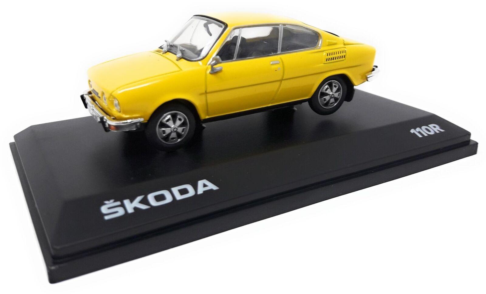 Abrex Metall Modellauto Modellauto Modellauto 1 43 Skoda 110 R Coupe yellow 1980 Kunststoff Vitrine 8f4490