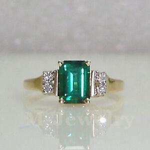 Genuine-Diamond-Natural-Estate-Russia-Green-Emerald-Solid-14k-Yellow-Gold-Ring