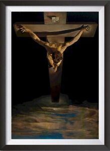 Salvador-Dali-039-Christ-of-Saint-John-of-the-Cross-039-Art-Print-Poster-Framed-NEW
