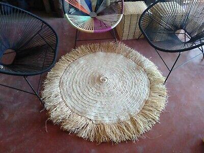 Moroccan Round Straw And Raffia Rug 40, Round Straw Rattan Rug