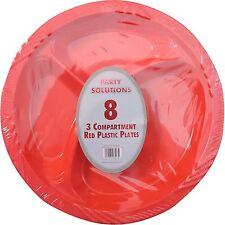 item 5 30 x RED PLASTIC PLATES 3 COMPARTMENT 10  26cm DISPOSABLE PARTY SERVING PLATE -30 x RED PLASTIC PLATES 3 COMPARTMENT 10  26cm DISPOSABLE PARTY ...  sc 1 st  eBay & 6 X Red Plastic Plates 3 Compartment 10