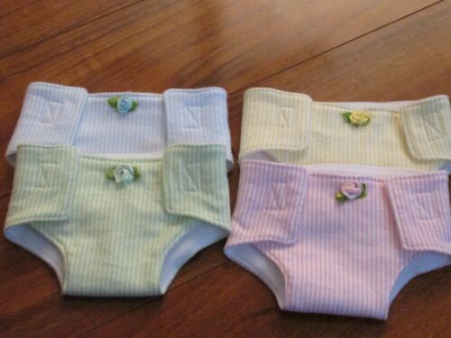 -Stripes Set of 4 diapers for Bitty Baby or Bitty Twins