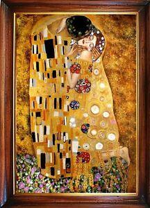 Gustav-Klimt-Der-Kuss-112x82Olgemaelde-Handgemalt-Leinwand-Rahmen-G15238
