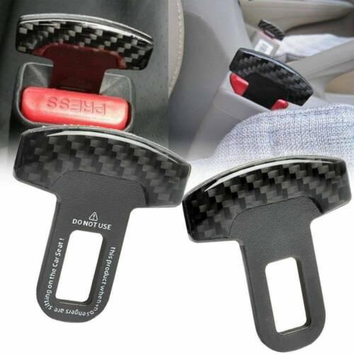Universal Carbon Fiber Car Safety Seat Belt Buckle Alarm Stopper Clip Pair Clamp
