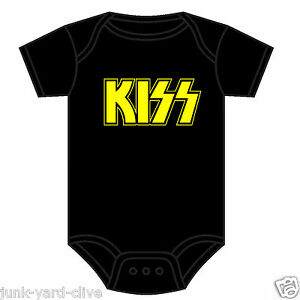 KISS-Babygrow-BAMBINO-CANOTTA-KISS-Logo-Rock-Metal-Music-Band-e-di-mercato-COLORI-0-18-M
