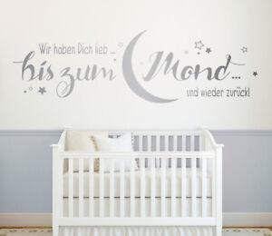 Wir Haben Dich Lieb Mond Kinderzimmer Baby Wandspruch Wandaufkleber Wandtattoo Ebay