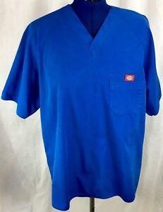 Blue-Scrub-Top-Dickies-Large-Unisex-Medical-Uniform-L-Work-Shirt-V-Neck-Pocket
