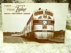 vintage texas zephyr post card burlington route unused dallas ft worth denver ebay ebay