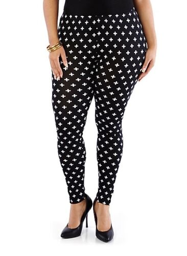 PLUS BLACK WHITE CROSS ankle Leggings pants CROSSES Cotton 1X 2X 3X 10-24