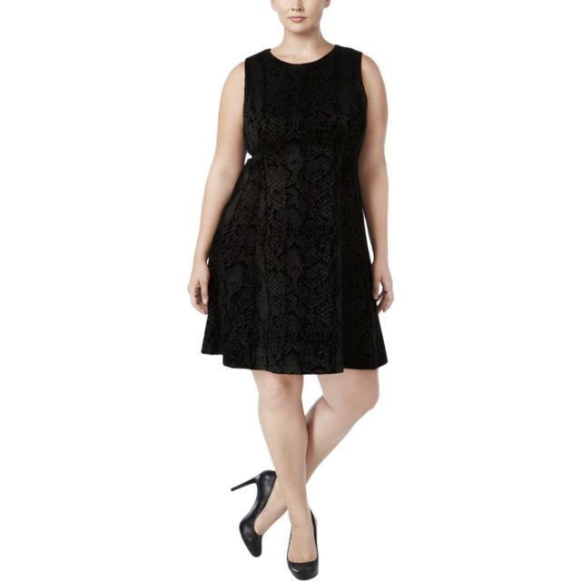 ddb3edf7e7 Calvin Klein Plus Size Black Flocked Scuba-knit Dress 22w for sale online
