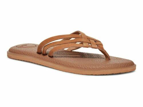 Sanuk Women/'s Shoes YOGA SALTY LEATHER Flip Flop Strap Sandals Tan Size 9