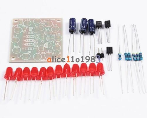 Circular Electronic LED Flash Circuit Light DIY Kit 12Pcs Production Red Blue