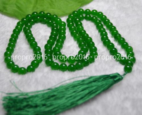 "32/"" Tibet bouddhiste 8 mm Vert Jade prière perles Mala Collier méditation PN988"