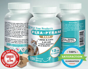 100-CAPSULES-Flea-Killer-For-DOGS-and-CATS-2-25-Lbs-12-Mg-BEEF-Flavored