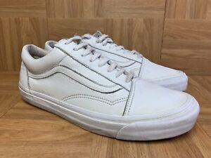 RARE-VANS-Old-Skool-White-Leather-Monochromatic-Gum-Waffle-Sole-Shoes-Sz-12
