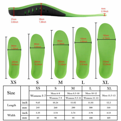 Orthotic Shoe Insoles Inserts Flat Feet High Arch Support For Plantar Fasciitis