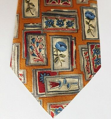 Isrida silk tie blue and red flowers Floral check pattern