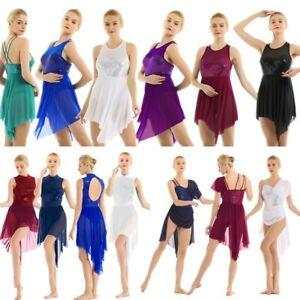 Women-Lyrical-Sequined-Ballet-Dance-Dress-Dancewear-Costume-Leotard-Maxi-Skirt