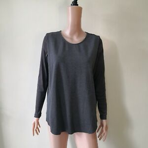 C822-Giordano-Ladies-Gray-Stretchable-Top-with-Sheer-Sleeves
