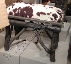 Cow Animal Hide Bench Drift Wood Branch Foot Stool Vanity