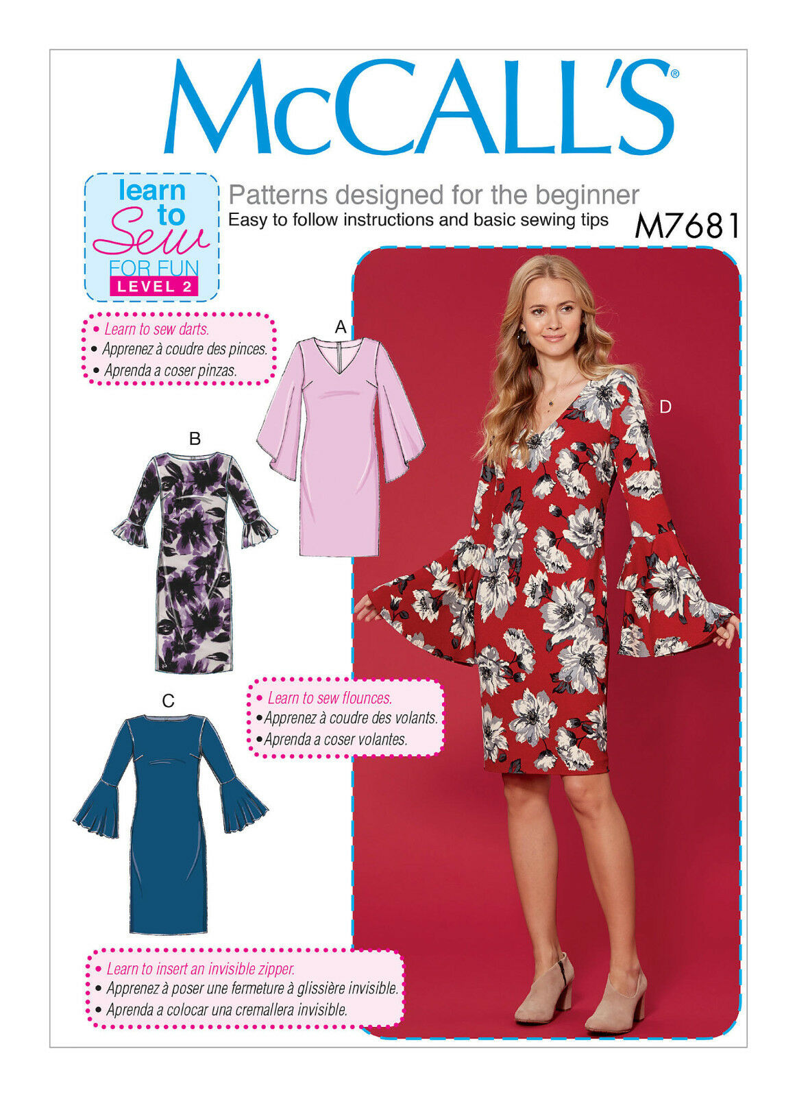 McCalls M7531 Learn to Sew for Fun PATTERN Misses Dresses Sizes XSM-XXL
