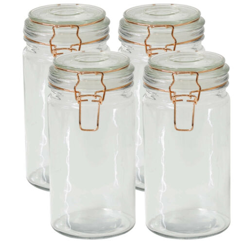 4pcs 1.3L Glass Storage Jar Airtight Copper Clip Top Lid Preserve Pasta Pickles