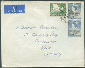 BRITISH-KENYA-TANGANYKA-TO-GREAT-BRITAIN-Old-Air-Mail-Cover-VF