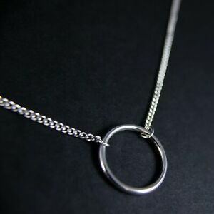 GENUINE-925-Sterling-Silver-Plain-Circle-Hoop-Karma-Fine-Necklace-UK-New-7-46g